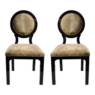 Pair of Hollywood Regency Side Chairs in Luxurious Embossed Velvet