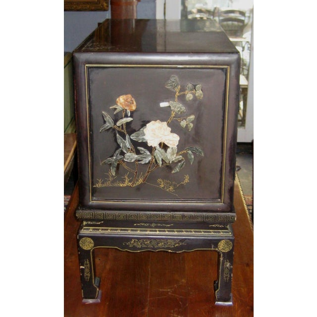Chinese Black Lacquer Hard Stone Cabinet - Image 4 of 5