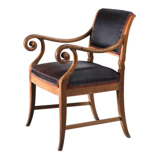 Oak Empire Style Chair with Scrolled Armrests, Denmark, 19th Century
