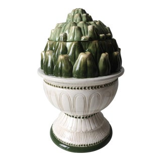Large Ceramic Artichoke Lidded Jar