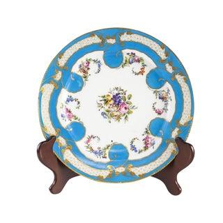 Sevres Porcelain Cabinet Plate, Hand Painted Florals & Fruits, Circa 1900