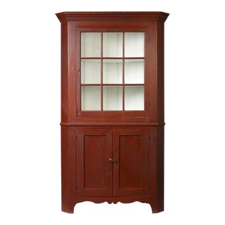 Federal Red-Painted Corner Cupboard