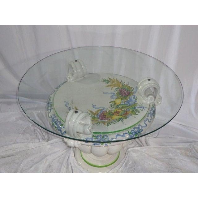 Italian Della Robbia Style Patio Table - Image 2 of 6