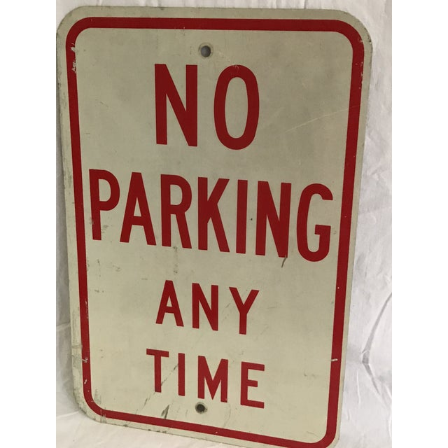Vintage No Parking Any Time Metal Road Sign - Image 3 of 5
