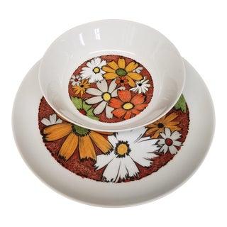 Modern 1960s Noritake Culebra Pattern Round Serving Platter & Serving Bowl - A Pair