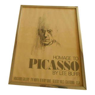 """Mid-Century Modern Lee Burr Signed Poster Print Titled """"Homage to Picasso"""""""