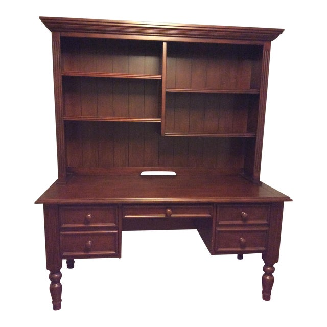 Ballard Designs Wooden Desk With Hutch - Image 1 of 6