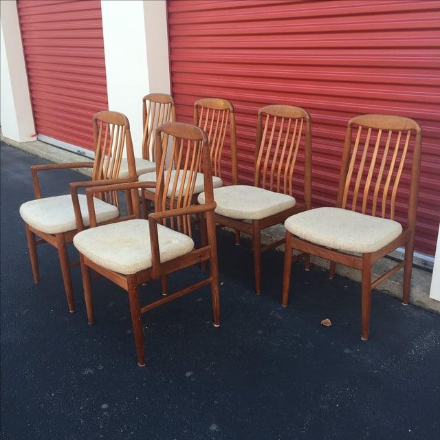 danish modern style teak dining chairs set of 6 chairish