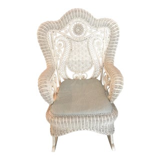 Vintage White Wicker Rocker