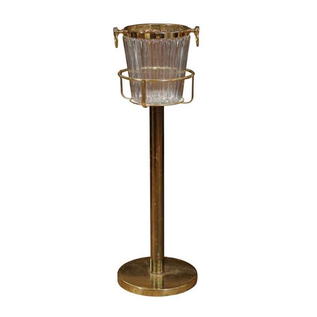 Image of Regency Brass & Crystal Champagne Bucket on Stand