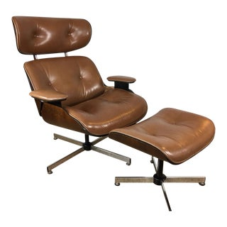 Plycraft Light Brown Leather Lounge Chair & Ottoman