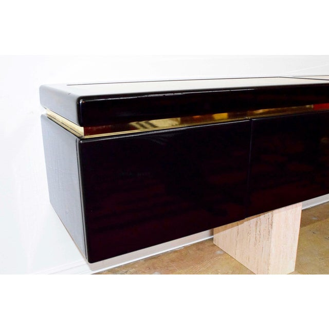 Very Large Custom Wall Hung Console in Black Lacquer and Travertine - Image 7 of 8