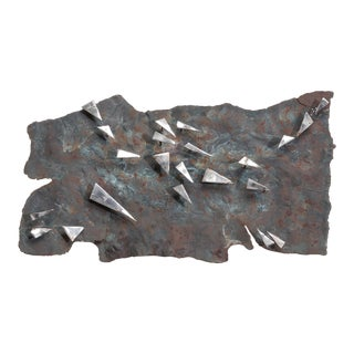 A Brutalist Metal Panel Wall Sculpture by Silas Seandel signed