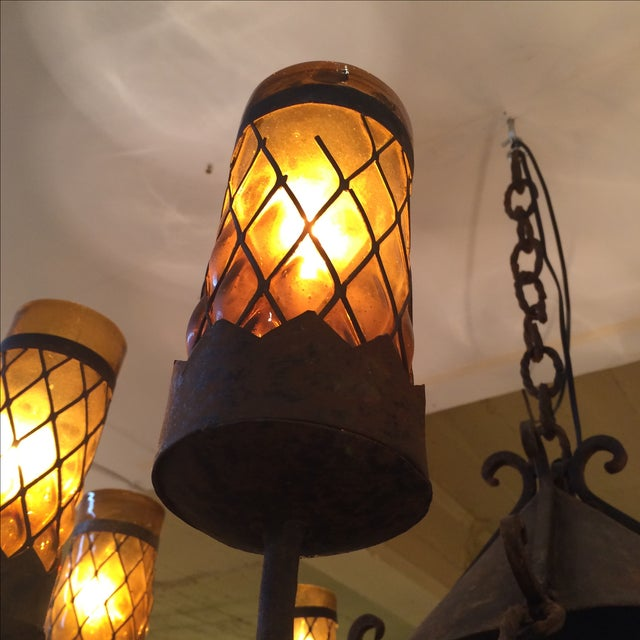 Spanish Revival Wrought Iron Chandelier - Image 7 of 7