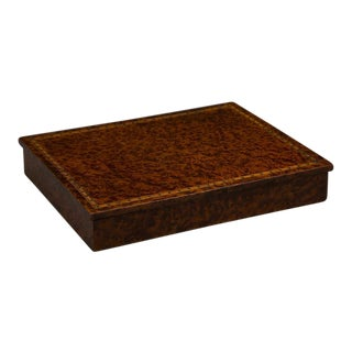An unusual rectangular table top storage box completely sheathed in extraordinary burl walnut from England c. 1890