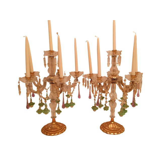 Venetian Crystal & Glass Candelabras - A Pair - Image 1 of 3