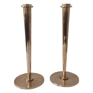 Solid Brass Candle Holders - A Pair