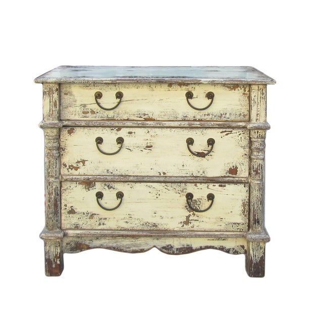 Rustic Yellow Cream Lacquer Three-Drawer Dresser - Image 1 of 2
