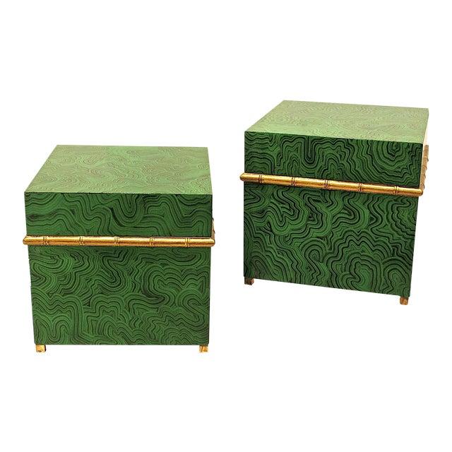 Faux Malachite Boxes - a Pair - Image 1 of 8