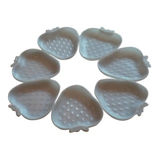 Mid-Century White Milk Glass Strawberry Shaped Dishes - Set of 7