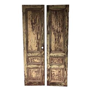 Rustic Mahogany Doors From La Casa Zaldivar, Pacheco in El Salvador - a Pair