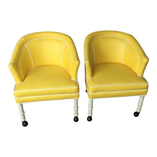 Mid-Century Modern Hollywood Regency Bucket Chairs - A Pair