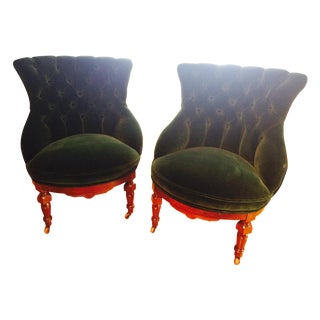 Reupholstered Victorian Slipper Chairs - Pair