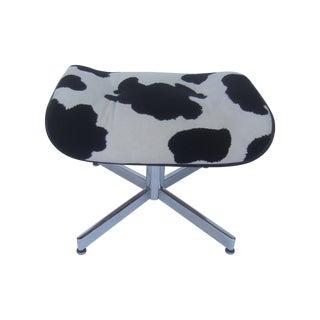 Eames Style Black & White Animal Print Ottoman