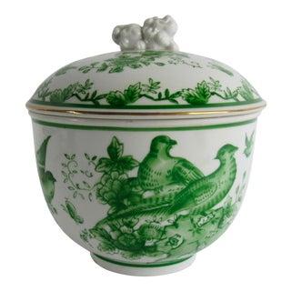 Green & White Lidded Japanese Porcelain Bowl