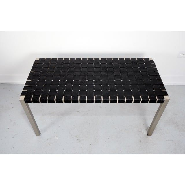 Woven Leather Bench - Image 4 of 4