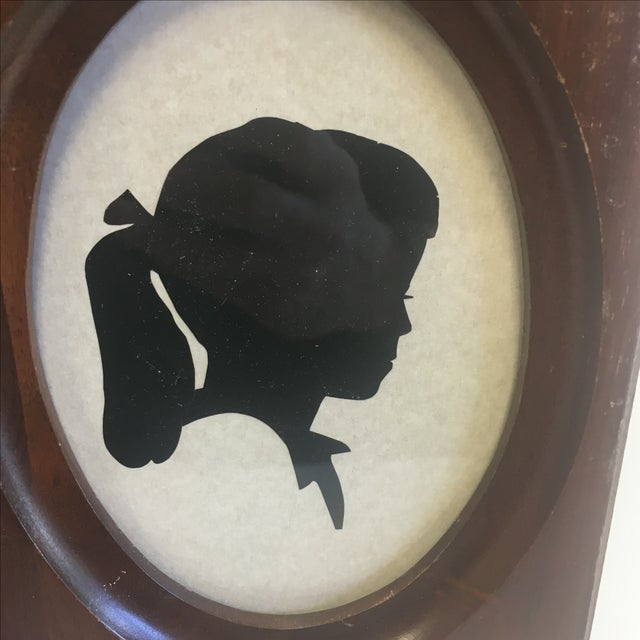 Image of Original Vintage Girl With Ponytail Silhouette