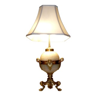 French Bronze & Marble Table Lamp