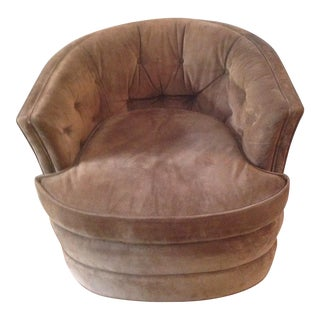 Knapp & Tubbs by Baker Suede Swivel Barrel Chair