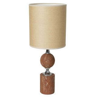 Rouge Travertine Table Lamp by Barbier, French, 1970s