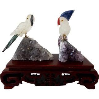 Crystal Quartz & Semi-Precious Stone Cockatoos