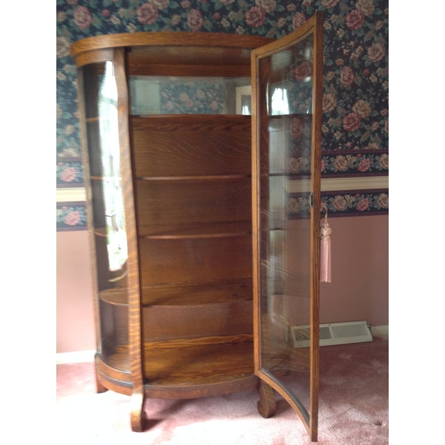 Image of Antique Tiger Oak Curved-Glass China Cabinet
