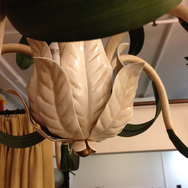 Hand Painted Green French Reproduction Chandelier - Image 6 of 9