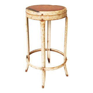 Vintage Industrial Rustic White Metal Stool