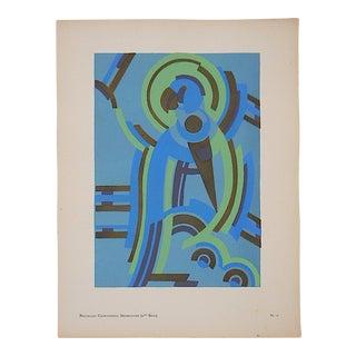 Vintage Serge Gladky Ltd. Ed. Pochoir Print-Abstracted Parrot C.1928