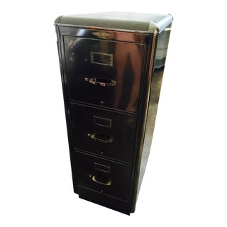 Metal & Leather-Top Filing Cabinet