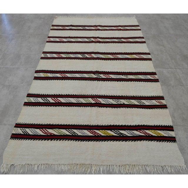 Vintage Natural Stripe Turkish Cotton Kilim Rug - 4′3″ × 8′ - Image 5 of 9