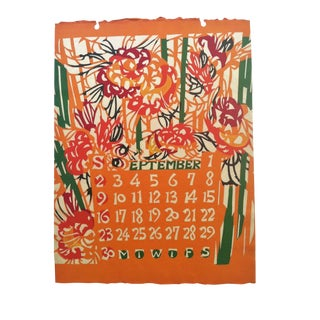 1962 Japanese Hand Stenciled September Calendar Print