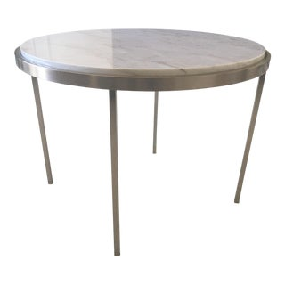 Modern Chrome Side Table with Carrera Marble Top