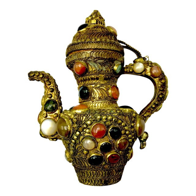 Antique 19th Century Tibetan Copper and Gold Filigree Flagon With Polished Agate Gemstones - Image 1 of 10