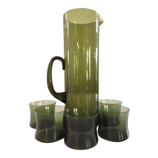 Iittala Smoked Green Glass Decanter & Glasses - Set of 6