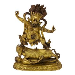 Sino-Tibetan Gilt Bronze Figure of Yama Dharmaraja