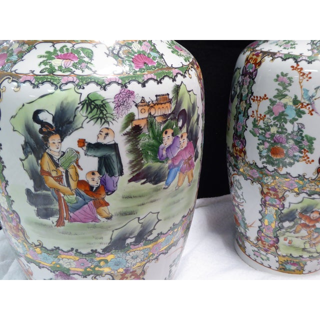 Image of Floral Asian Floor Vases - A Pair