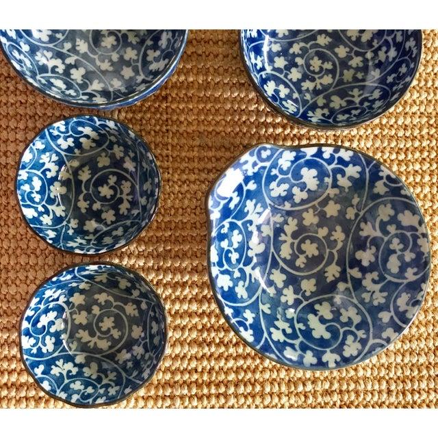 Image of Japanese Blue & White Ceramic Bowls - Set of 10