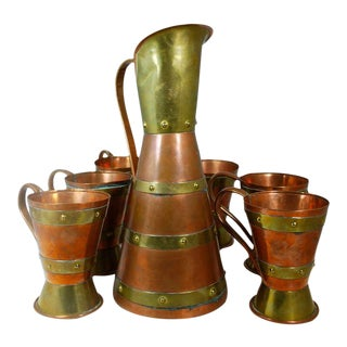 Wonderful Mid Century Beer Set by Taxco Master Hector Aguilar