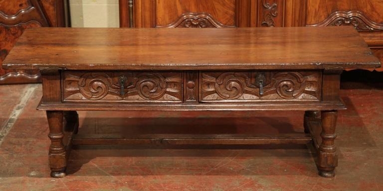 Wonderful 19th Century French Carved Chestnut Coffee Table From The Pyrenees  Mountains   Image 6 Of 10